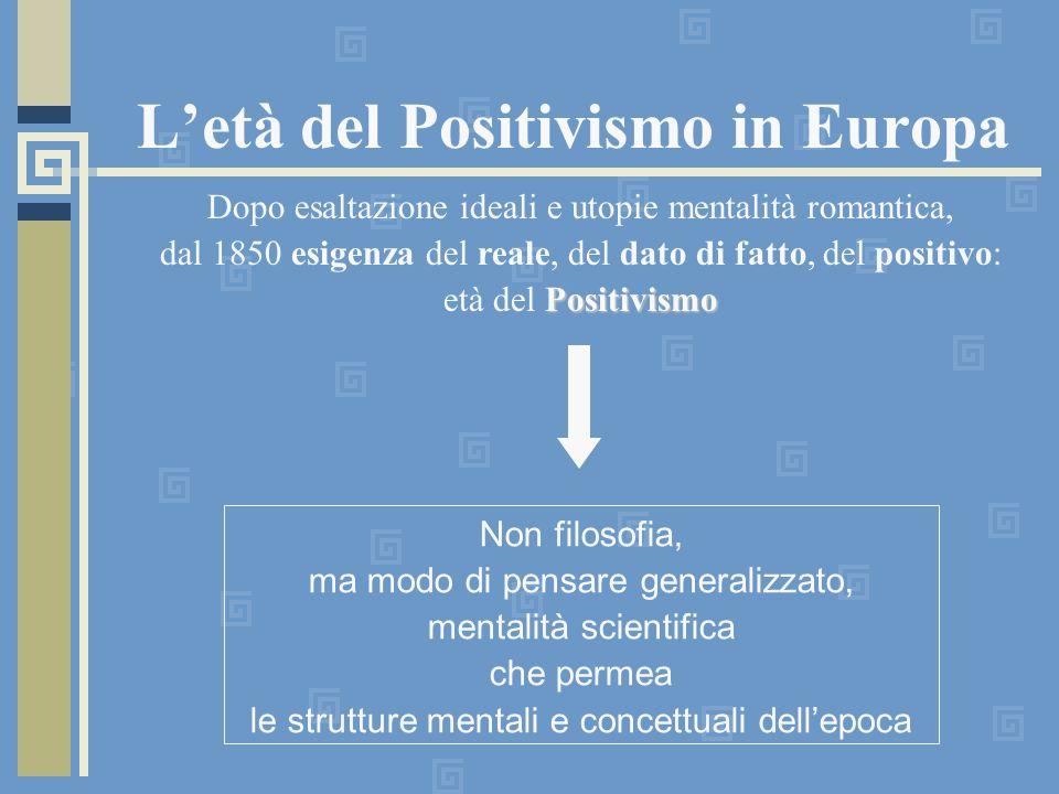 Letà del Positivismo in Europa Dopo esaltazione ideali e utopie mentalità romantica, dal 1850 esigenza del reale, del dato di fatto, del positivo: Pos