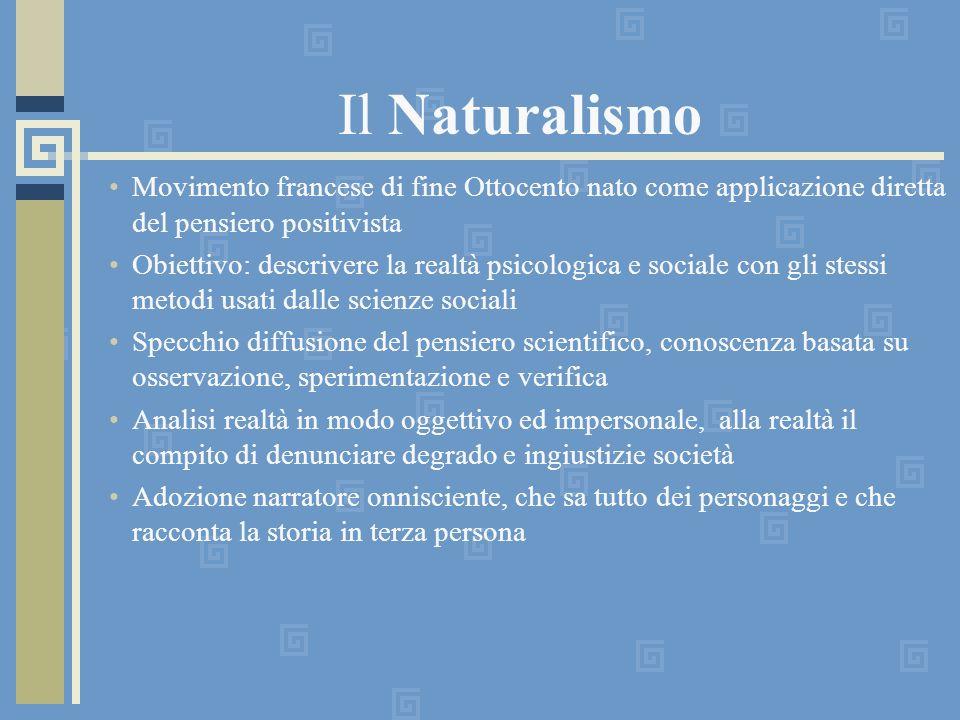 Il Naturalismo Movimento francese di fine Ottocento nato come applicazione diretta del pensiero positivista Obiettivo: descrivere la realtà psicologic