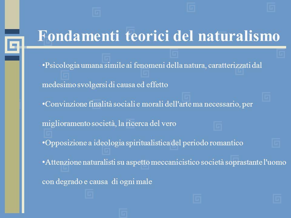 Fondamenti teorici del naturalismo Psicologia umana simile ai fenomeni della natura, caratterizzati dal medesimo svolgersi di causa ed effetto Convinz