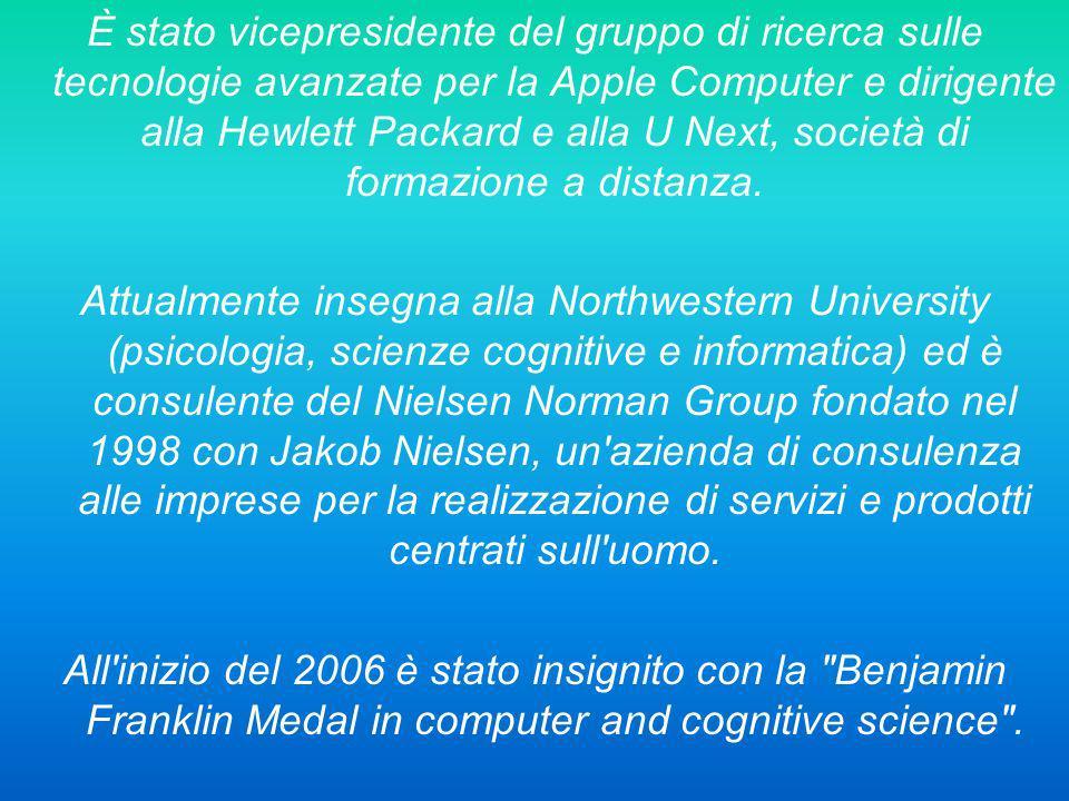 Il suo campo di ricerca è lo studio dell ergonomia, del design, e più in generale del processo cognitivo umano.