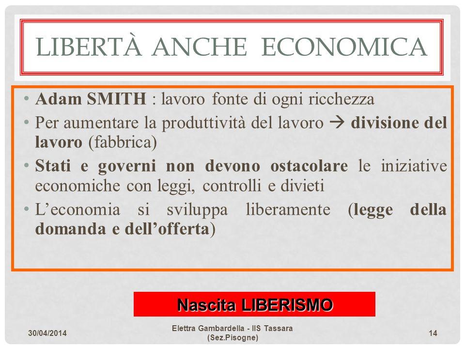 LIBERTÀ ANCHE ECONOMICA Adam SMITH : lavoro fonte di ogni ricchezza Per aumentare la produttività del lavoro divisione del lavoro (fabbrica) Stati e g