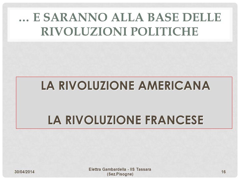 … E SARANNO ALLA BASE DELLE RIVOLUZIONI POLITICHE LA RIVOLUZIONE AMERICANA LA RIVOLUZIONE FRANCESE 30/04/2014 Elettra Gambardella - IIS Tassara (Sez.P