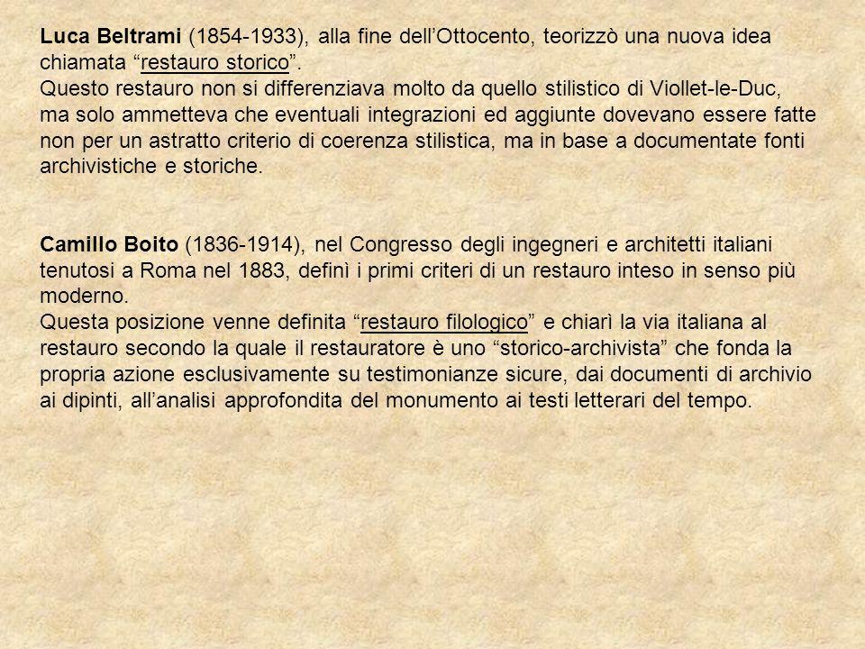 Luca Beltrami (1854-1933), alla fine dellOttocento, teorizzò una nuova idea chiamata restauro storico. Questo restauro non si differenziava molto da q