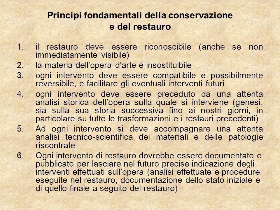 Principi fondamentali della conservazione e del restauro 1.il restauro deve essere riconoscibile (anche se non immediatamente visibile) 2.la materia d