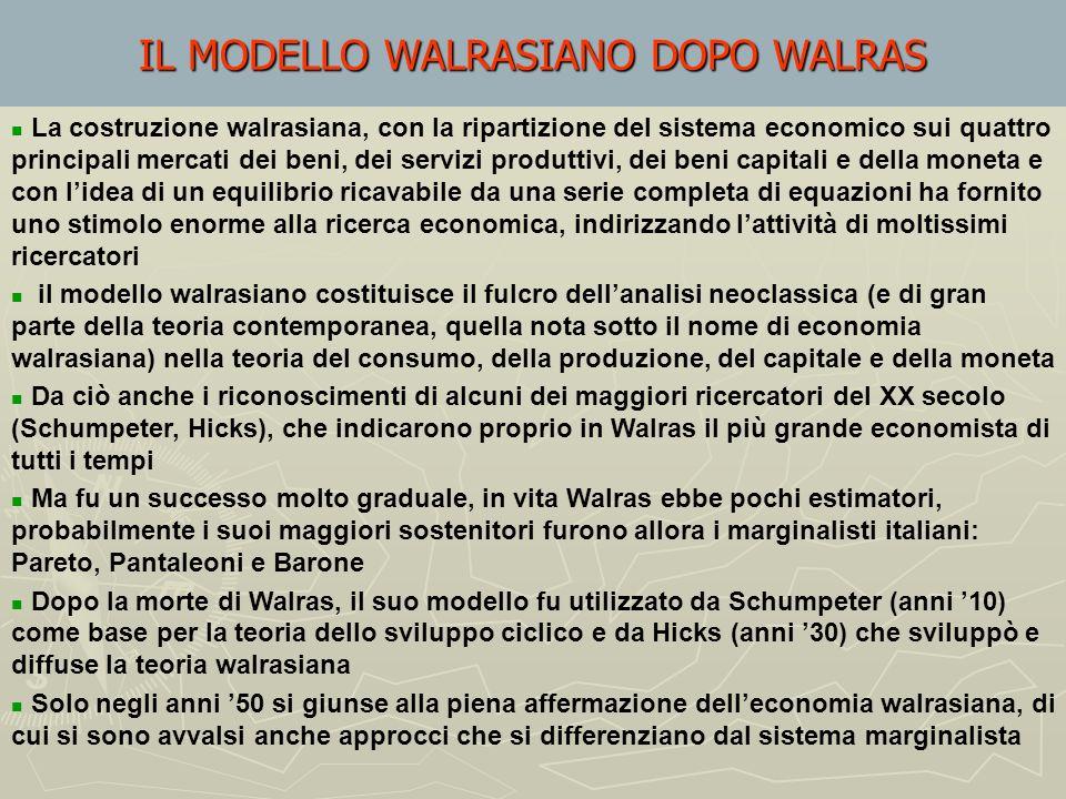 Walras dimostra che, dati i vincoli di bilancio degli agenti, la somma degli eccessi di domanda positivi e negativi (eccessi di offerta) in tutti i me