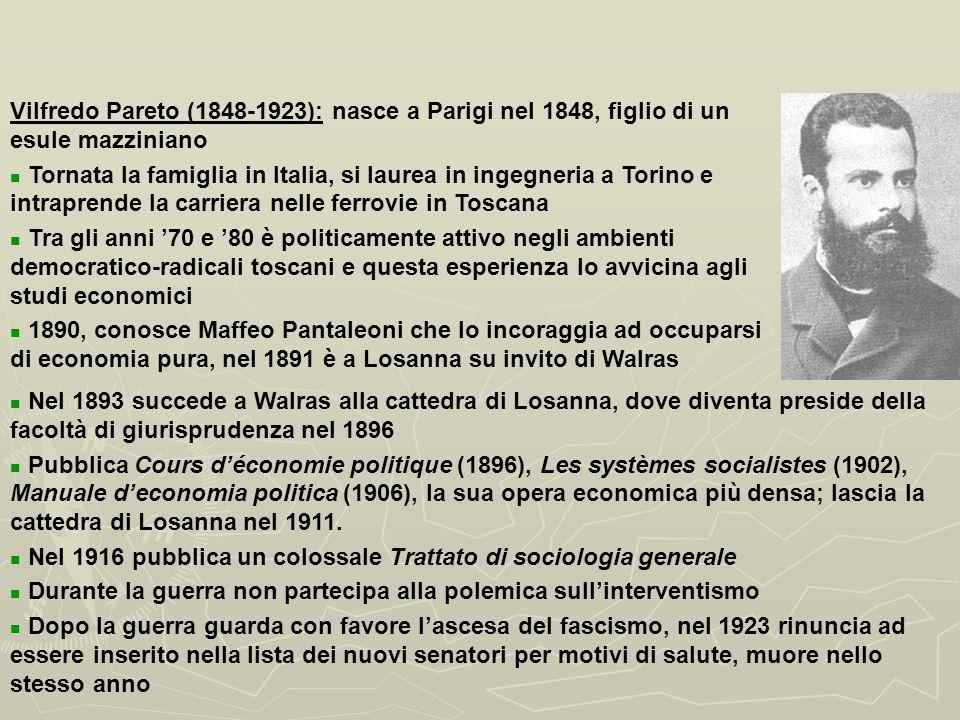 I MARGINALISTI ITALIANI E LA SCUOLA DI LOSANNA: VILFREDO PARETO.