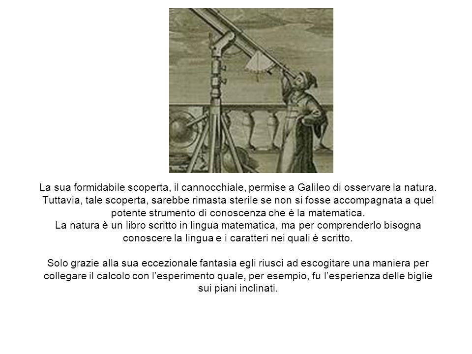 La sua formidabile scoperta, il cannocchiale, permise a Galileo di osservare la natura. Tuttavia, tale scoperta, sarebbe rimasta sterile se non si fos