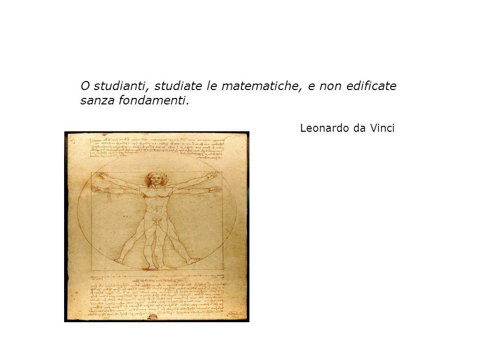 O studianti, studiate le matematiche, e non edificate sanza fondamenti. Leonardo da Vinci