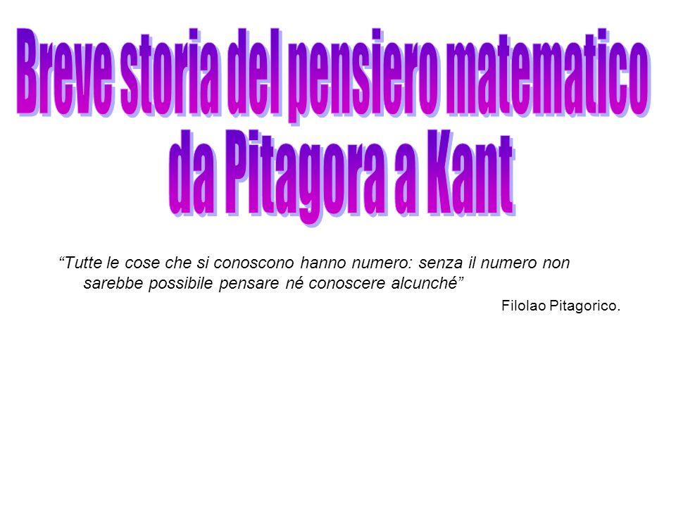 Tutte le cose che si conoscono hanno numero: senza il numero non sarebbe possibile pensare né conoscere alcunché Filolao Pitagorico.