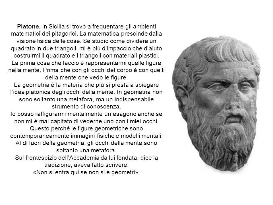 Platone, in Sicilia si trovò a frequentare gli ambienti matematici dei pitagorici. La matematica prescinde dalla visione fisica delle cose. Se studio