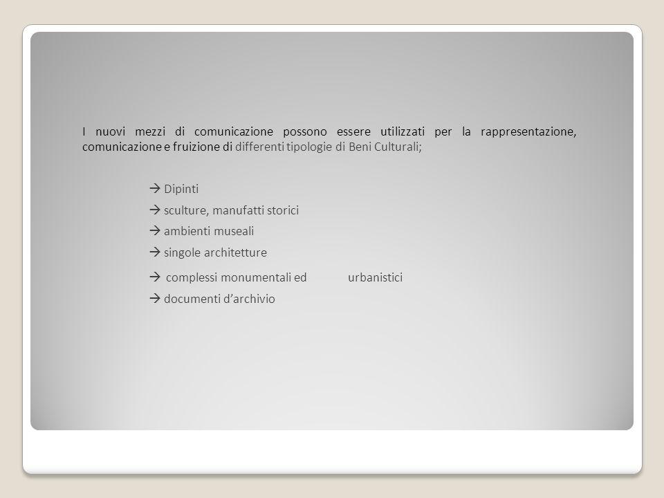Obiettivi: Non sostituzione alla visita o al contesto materiale ma Modalità di accesso complementari allesperienza in loco.