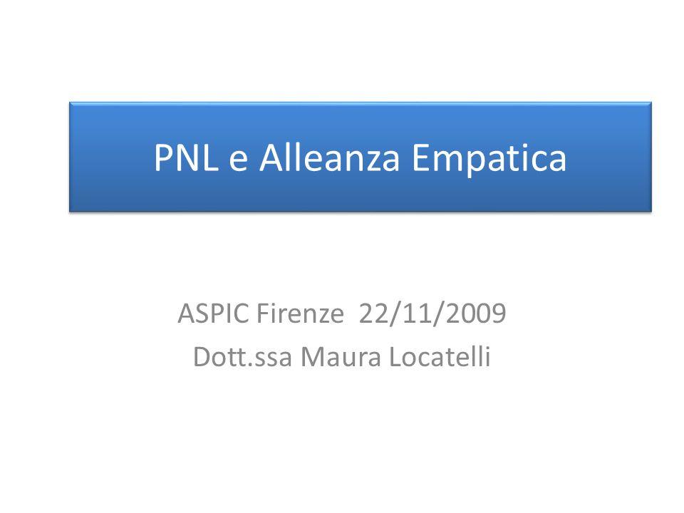 PNL e Alleanza Empatica ASPIC Firenze 22/11/2009 Dott.ssa Maura Locatelli