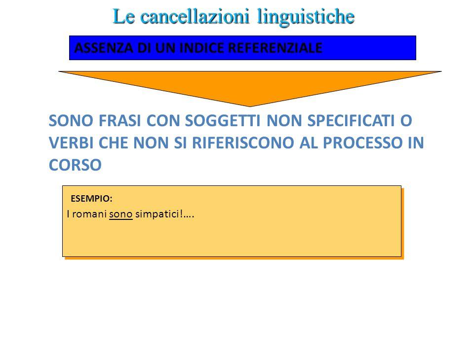 Le cancellazioni linguistiche SONO FRASI CON SOGGETTI NON SPECIFICATI O VERBI CHE NON SI RIFERISCONO AL PROCESSO IN CORSO I romani sono simpatici!…. E