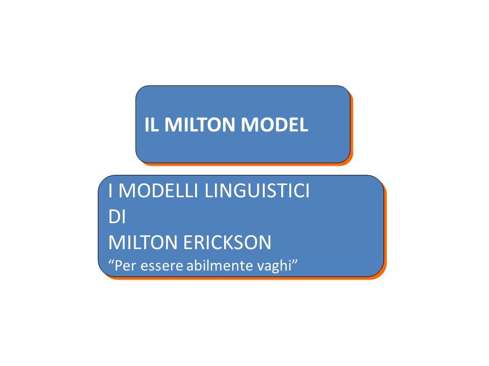 IL MILTON MODEL I MODELLI LINGUISTICI DI MILTON ERICKSON Per essere abilmente vaghi I MODELLI LINGUISTICI DI MILTON ERICKSON Per essere abilmente vagh