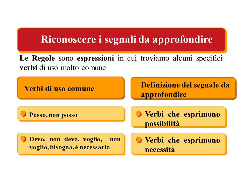 Le Regole sono espressioni in cui troviamo alcuni specifici verbi di uso molto comune Riconoscere i segnali da approfondire Verbi di uso comune Defini