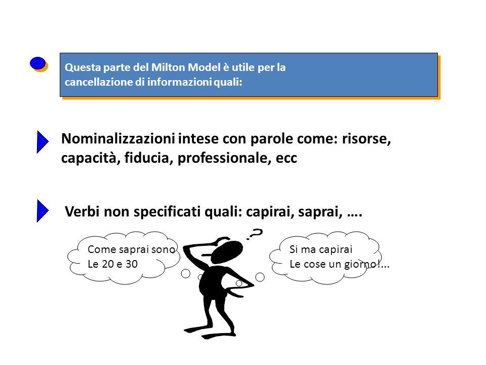 Questa parte del Milton Model è utile per la cancellazione di informazioni quali: Questa parte del Milton Model è utile per la cancellazione di inform