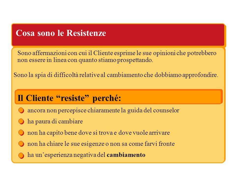 Cosa sono le Resistenze Il Cliente resiste perché: ancora non percepisce chiaramente la guida del counselor ha paura di cambiare non ha capito bene do