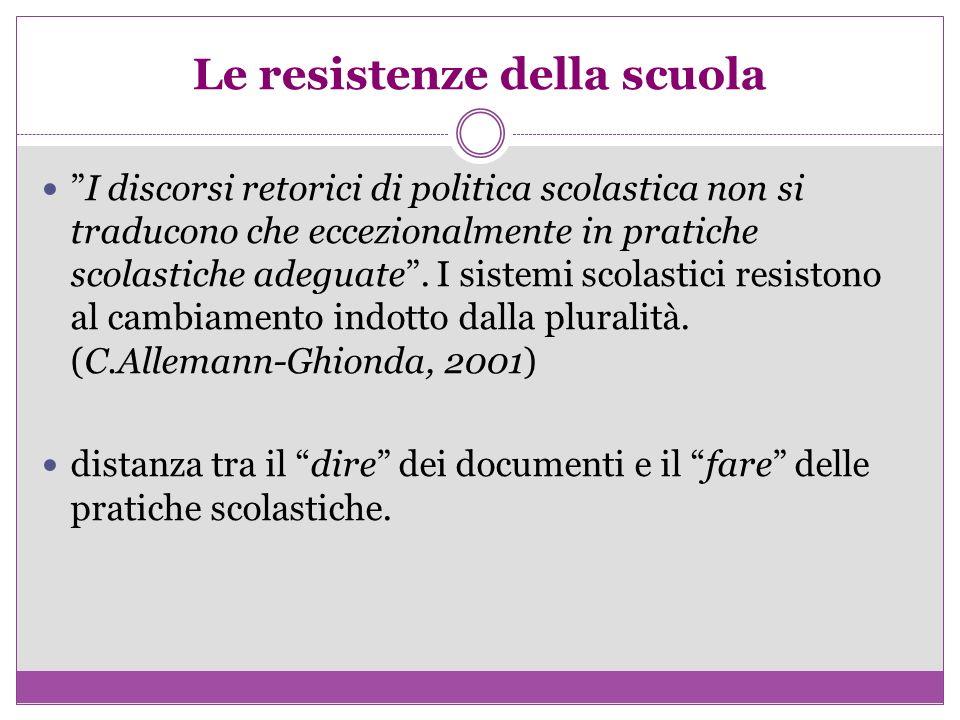 Le resistenze della scuola I discorsi retorici di politica scolastica non si traducono che eccezionalmente in pratiche scolastiche adeguate. I sistemi