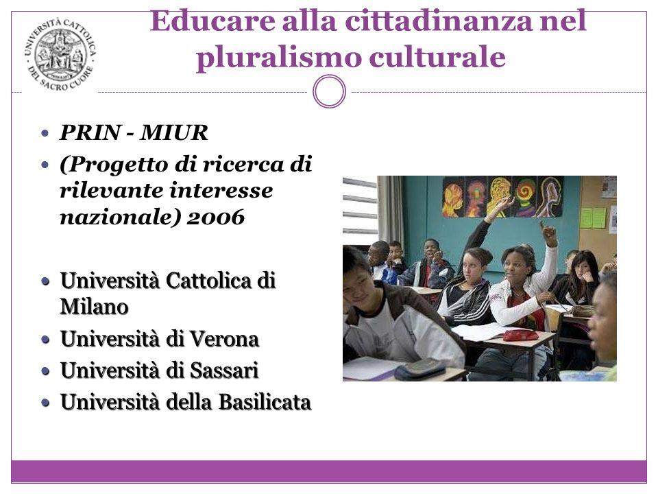 Educare alla cittadinanza nel pluralismo culturale PRIN - MIUR (Progetto di ricerca di rilevante interesse nazionale) 2006 Università Cattolica di Mil