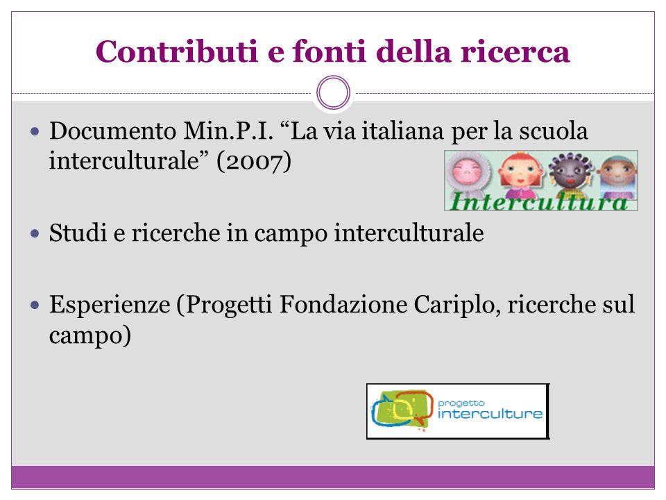 Contributi e fonti della ricerca Documento Min.P.I. La via italiana per la scuola interculturale (2007) Studi e ricerche in campo interculturale Esper
