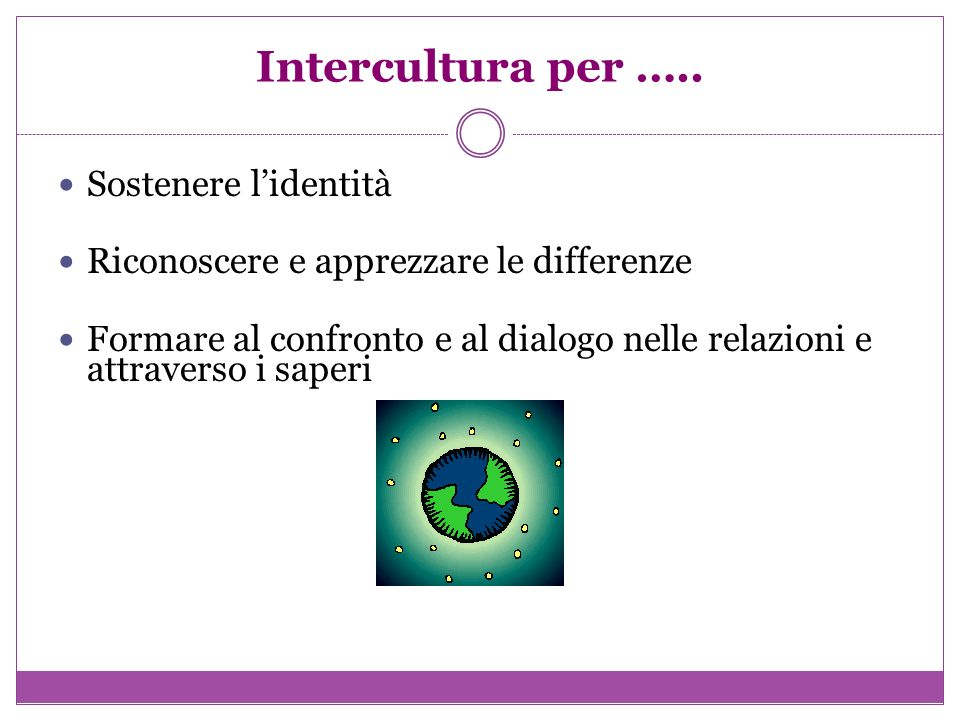 Intercultura per ….. Sostenere lidentità Riconoscere e apprezzare le differenze Formare al confronto e al dialogo nelle relazioni e attraverso i saper