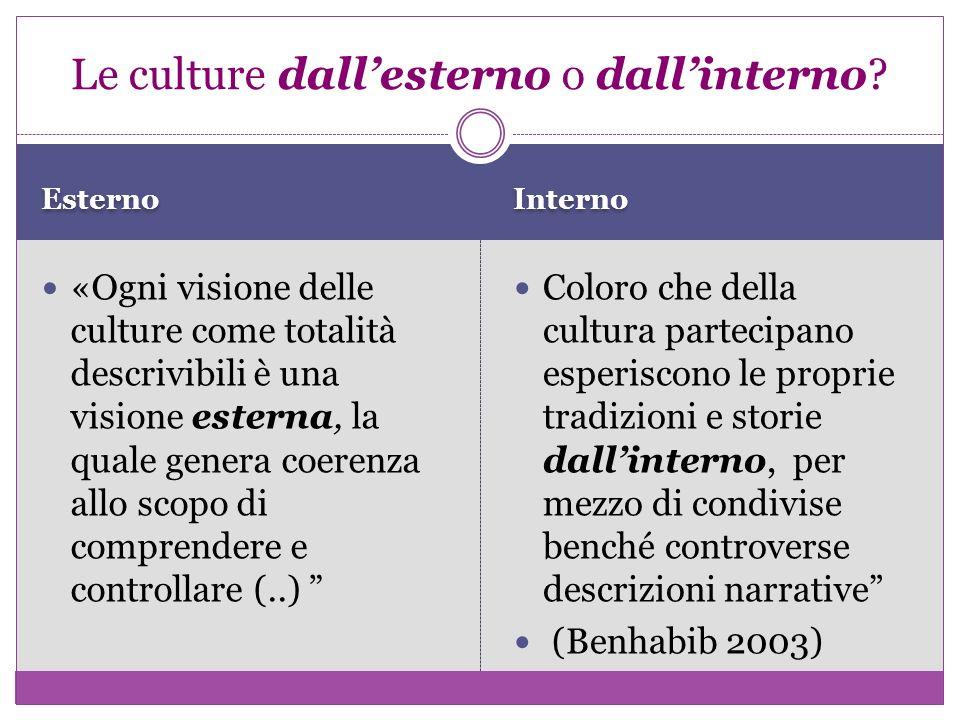 Esterno Interno «Ogni visione delle culture come totalità descrivibili è una visione esterna, la quale genera coerenza allo scopo di comprendere e con