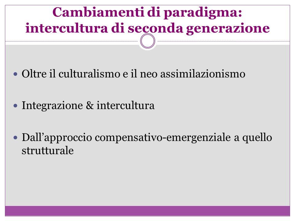 Cambiamenti di paradigma: intercultura di seconda generazione Oltre il culturalismo e il neo assimilazionismo Integrazione & intercultura Dallapprocci