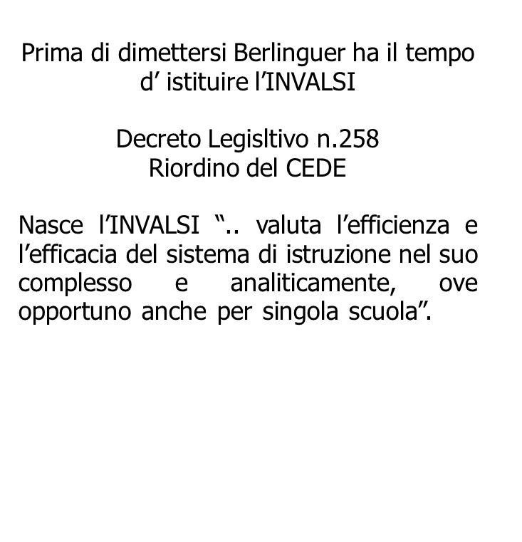 Prima di dimettersi Berlinguer ha il tempo d istituire lINVALSI Decreto Legisltivo n.258 Riordino del CEDE Nasce lINVALSI.. valuta lefficienza e leffi