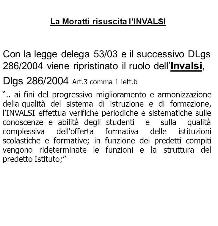 La Moratti risuscita lINVALSI Con la legge delega 53/03 e il successivo DLgs 286/2004 viene ripristinato il ruolo del lInvalsi, Dlgs 286/2004 Art.3 co