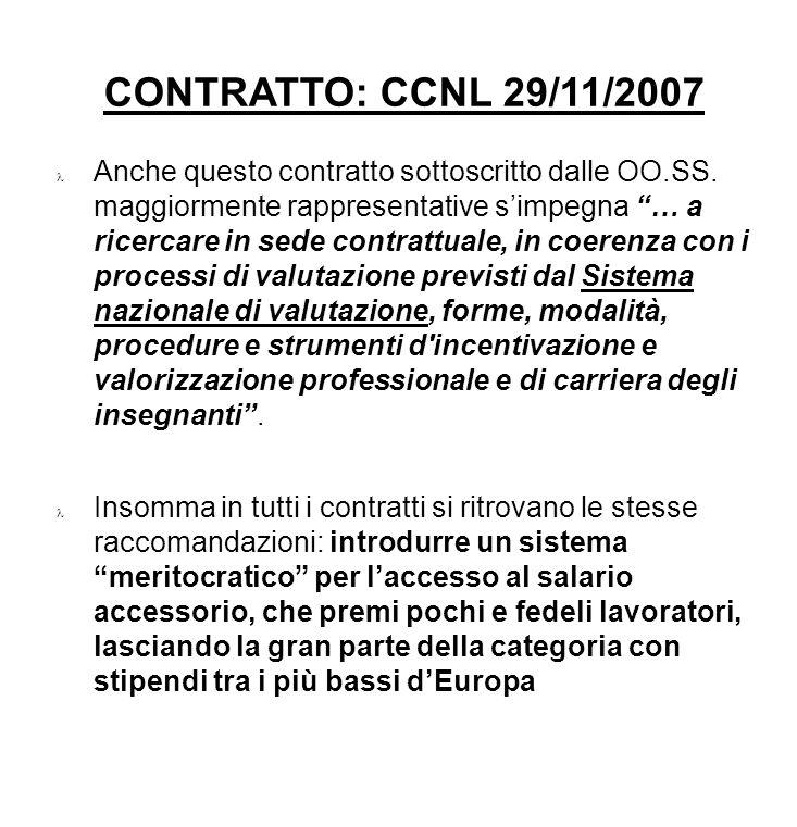 CONTRATTO: CCNL 29/11/2007 Anche questo contratto sottoscritto dalle OO.SS. maggiormente rappresentative simpegna … a ricercare in sede contrattuale,
