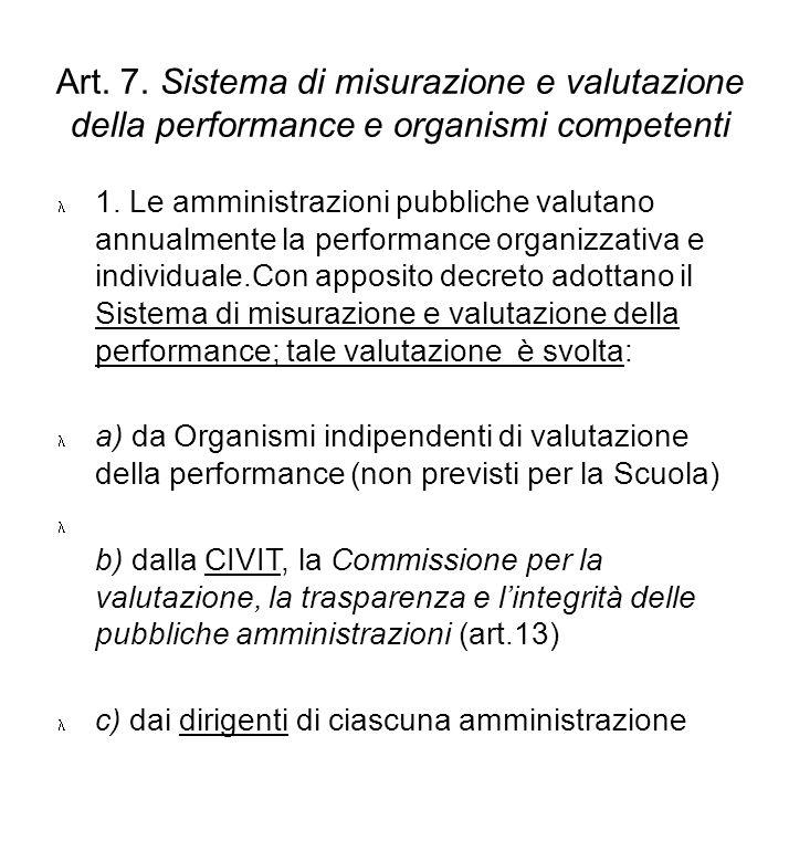 Art. 7. Sistema di misurazione e valutazione della performance e organismi competenti 1. Le amministrazioni pubbliche valutano annualmente la performa
