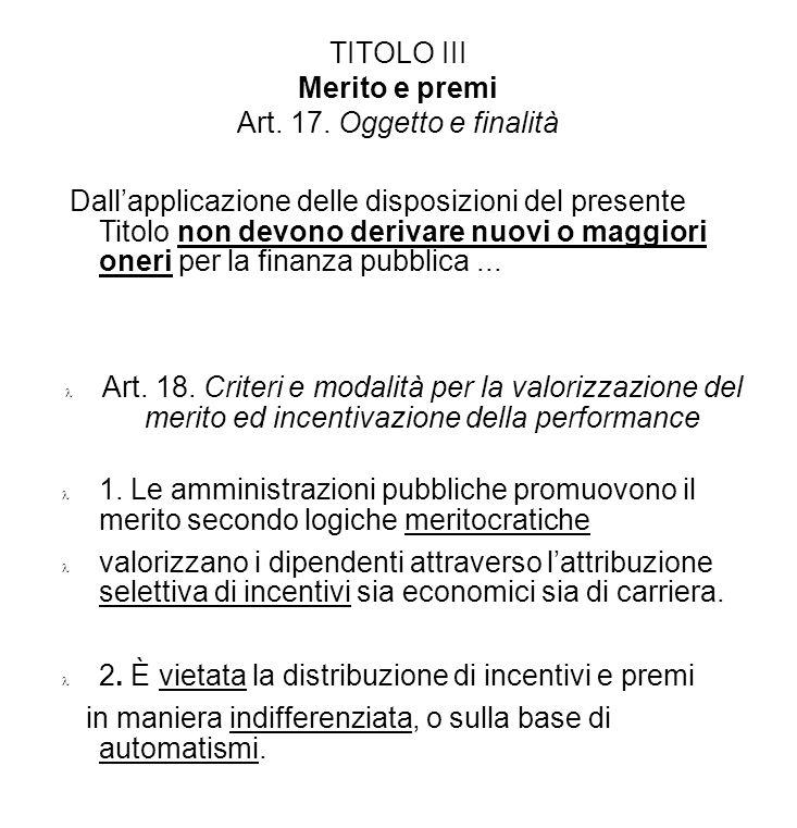 TITOLO III Merito e premi Art. 17. Oggetto e finalità Dallapplicazione delle disposizioni del presente Titolo non devono derivare nuovi o maggiori one