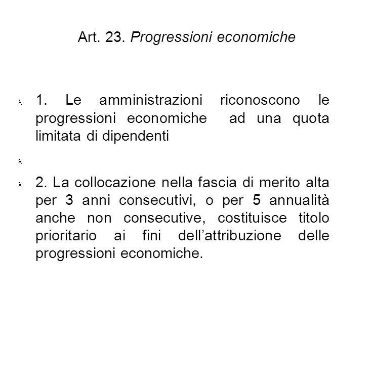 Art. 23. Progressioni economiche 1. Le amministrazioni riconoscono le progressioni economiche ad una quota limitata di dipendenti 2. La collocazione n