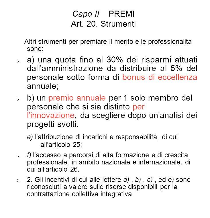 Capo II PREMI Art. 20. Strumenti Altri strumenti per premiare il merito e le professionalità sono: a) una quota fino al 30% dei risparmi attuati dalla