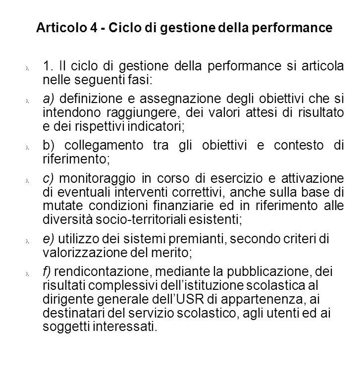 DPCM Misurazione, valutazione e trasparenza della performance dei docenti Articolo 4 - Ciclo di gestione della performance 1. Il ciclo di gestione del
