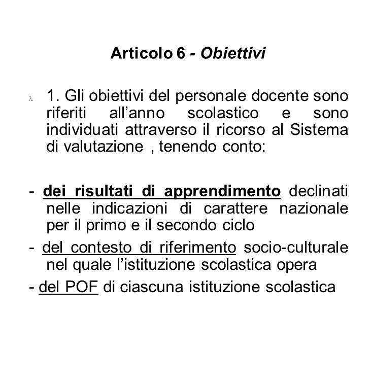 Articolo 6 - Obiettivi 1. Gli obiettivi del personale docente sono riferiti allanno scolastico e sono individuati attraverso il ricorso al Sistema di