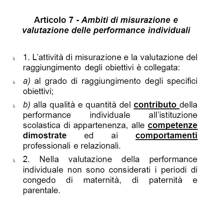Articolo 7 - Ambiti di misurazione e valutazione delle performance individuali 1. Lattività di misurazione e la valutazione del raggiungimento degli o