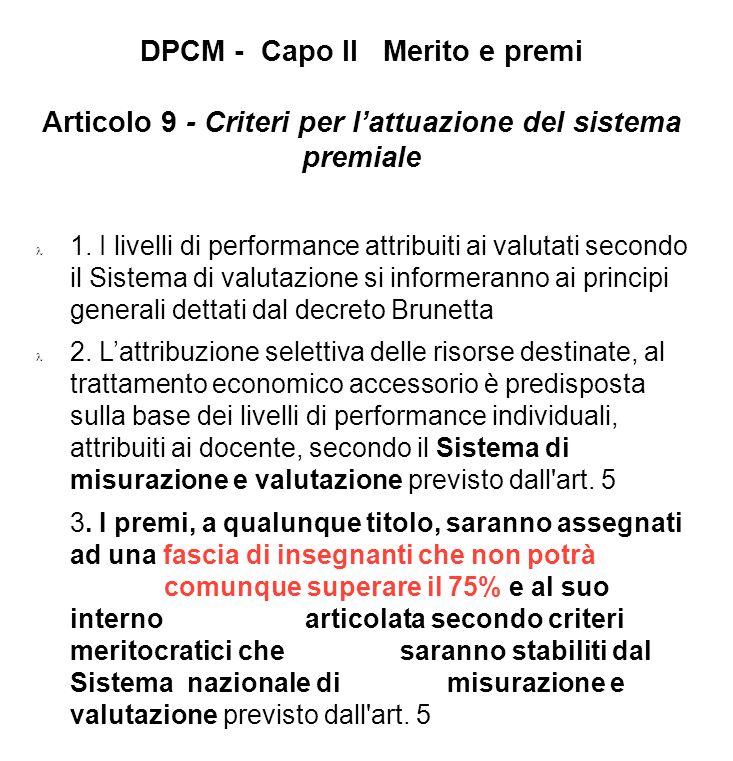 DPCM - Capo II Merito e premi Articolo 9 - Criteri per lattuazione del sistema premiale 1. I livelli di performance attribuiti ai valutati secondo il