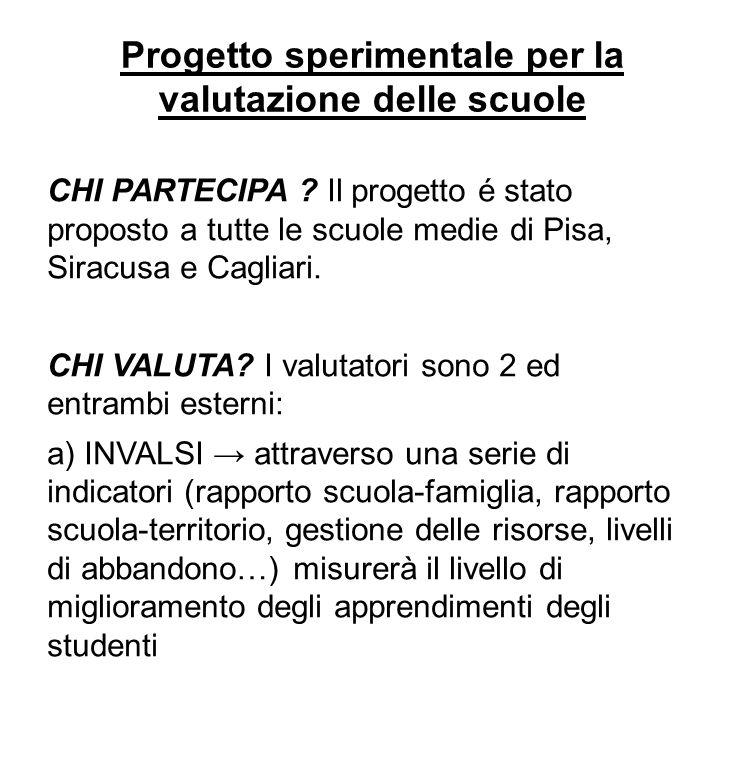 Progetto sperimentale per la valutazione delle scuole CHI PARTECIPA ? Il progetto é stato proposto a tutte le scuole medie di Pisa, Siracusa e Cagliar