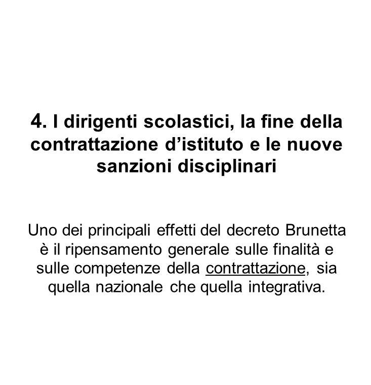 4. I dirigenti scolastici, la fine della contrattazione distituto e le nuove sanzioni disciplinari Uno dei principali effetti del decreto Brunetta è i