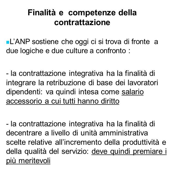 Finalità e competenze della contrattazione LANP sostiene che oggi ci si trova di fronte a due logiche e due culture a confronto : - la contrattazione