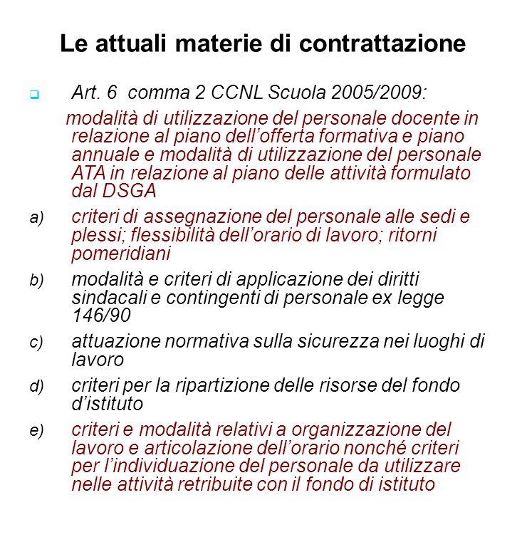 Le attuali materie di contrattazione Art. 6 comma 2 CCNL Scuola 2005/2009: modalità di utilizzazione del personale docente in relazione al piano dello