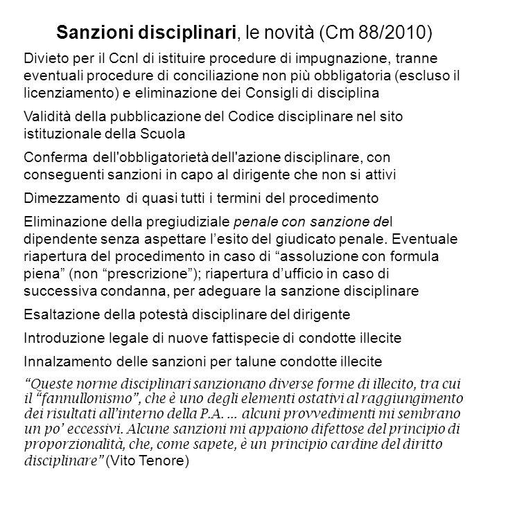 Sanzioni disciplinari, le novità (Cm 88/2010) Divieto per il Ccnl di istituire procedure di impugnazione, tranne eventuali procedure di conciliazione
