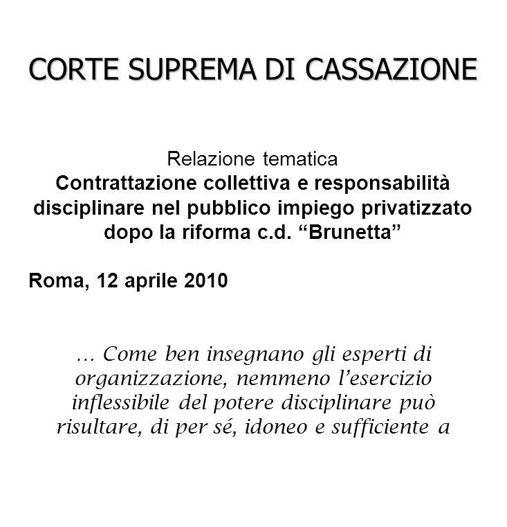 A cura di Anna Grazia Stammati CORTE SUPREMA DI CASSAZIONE Relazione tematica Contrattazione collettiva e responsabilità disciplinare nel pubblico imp