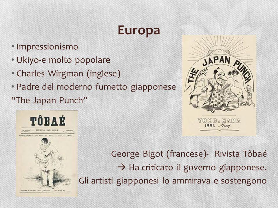 Europa Impressionismo Ukiyo-e molto popolare Charles Wirgman (inglese) Padre del moderno fumetto giapponese The Japan Punch George Bigot (francese)- R