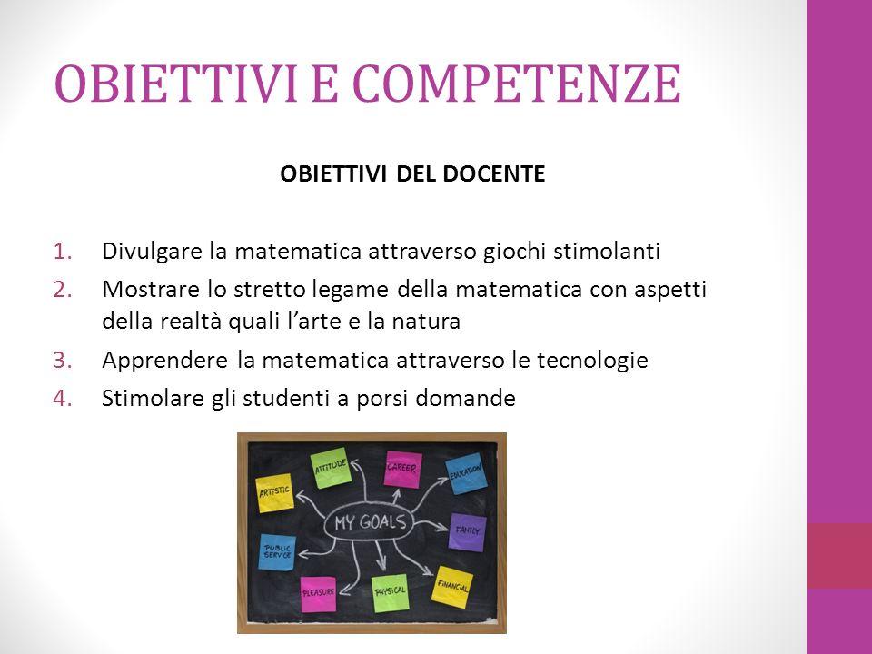 OBIETTIVI E COMPETENZE OBIETTIVI DEL DOCENTE 1.Divulgare la matematica attraverso giochi stimolanti 2.Mostrare lo stretto legame della matematica con