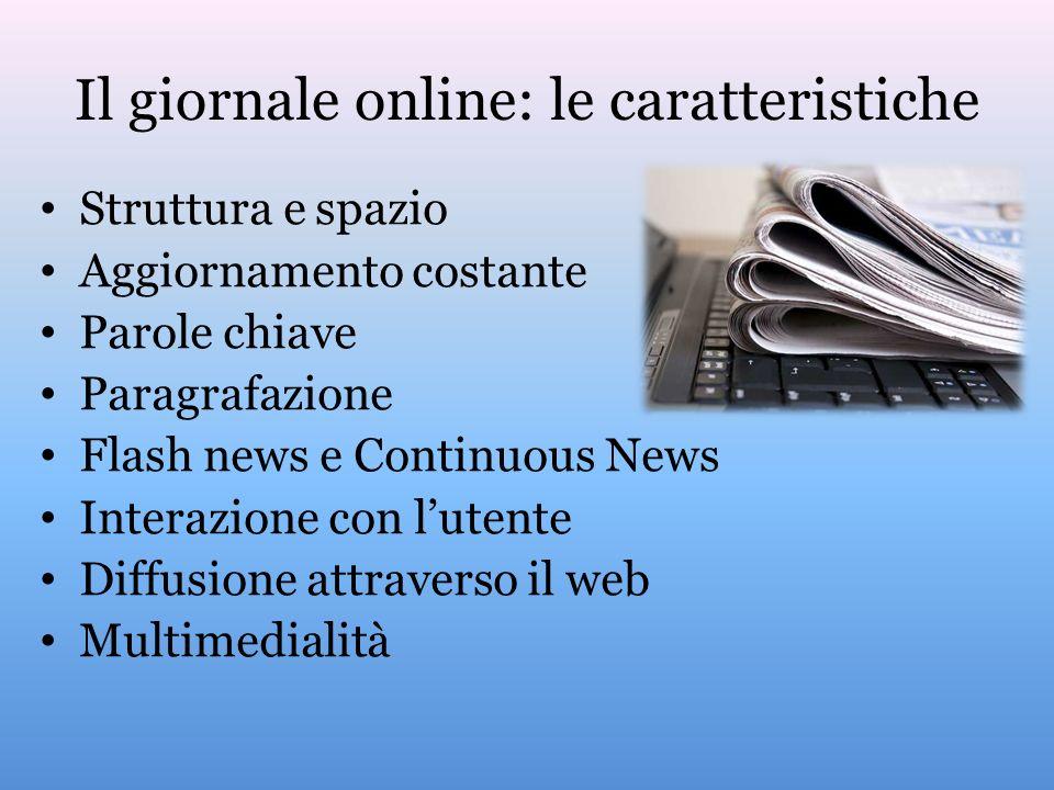 Il giornale online: le caratteristiche Struttura e spazio Aggiornamento costante Parole chiave Paragrafazione Flash news e Continuous News Interazione con lutente Diffusione attraverso il web Multimedialità