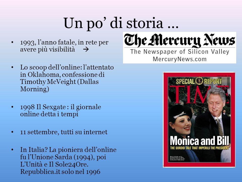 Un po di storia … 1993, lanno fatale, in rete per avere più visibilità Lo scoop dellonline: lattentato in Oklahoma, confessione di Timothy McVeight (Dallas Morning) 1998 Il Sexgate : il giornale online detta i tempi 11 settembre, tutti su internet In Italia.