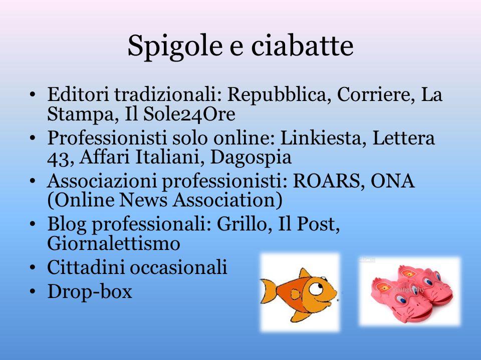 Spigole e ciabatte Editori tradizionali: Repubblica, Corriere, La Stampa, Il Sole24Ore Professionisti solo online: Linkiesta, Lettera 43, Affari Itali
