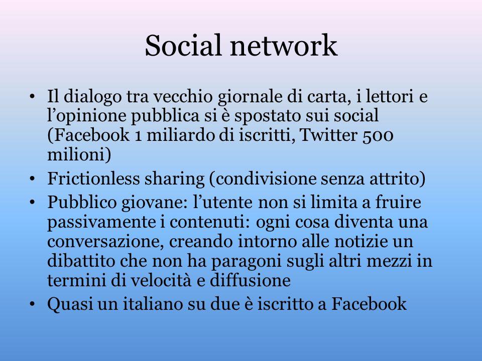 Social network Il dialogo tra vecchio giornale di carta, i lettori e lopinione pubblica si è spostato sui social (Facebook 1 miliardo di iscritti, Twi